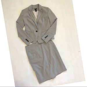 Ann Taylor Pinstripe Single Button Skirt Suit Set